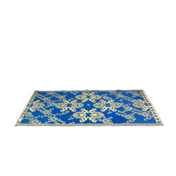 Alfombra decorativa azul con motivos étnicos