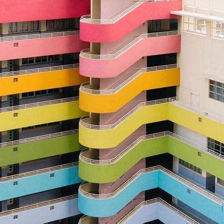 Fachadas de arco-iris en Hong Kong