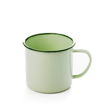 Taza esmaltada de color verde