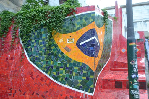 Bandera de Brasil en mosaico