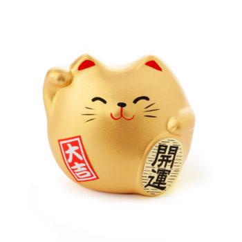 Gato de la suerte color dorado