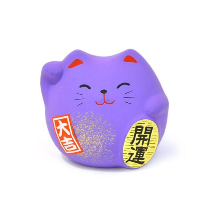 Gato de la suerte color violeta