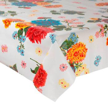 Mantel hule para mesas - modelo con flores crisantemo