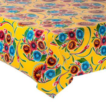 Mantel de flores amarillo, diseño mexicano vintage.