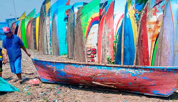 Madera reciclada de barcos de pesca