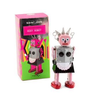 Roxy tin robot, a vintage collector's item.
